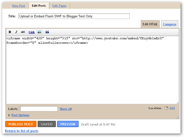 7 Tips for Uploading and Embedding Flash SWF into Google Blogger