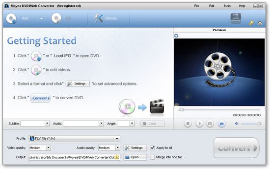 Interface of Moyea video4web player