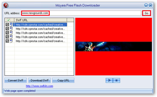 Download SWF files from internet with a free SWF downloader